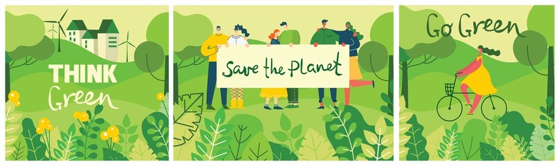 Vector illustrations with activists people holding placard on the nature, in the forest with green landscape veiw in the flat design and eco quote Save the planet