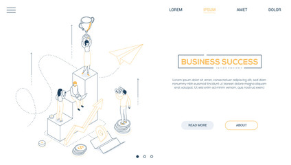 Business success - line design style isometric web banner