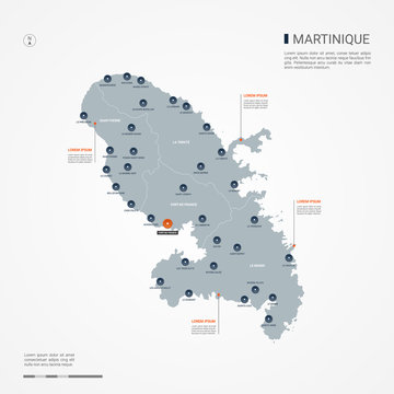Martinique map with borders, cities, capital and administrative divisions. Infographic vector map. Editable layers clearly labeled.
