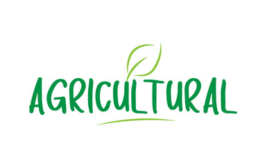agricultural green word text with leaf icon logo design Wall mural