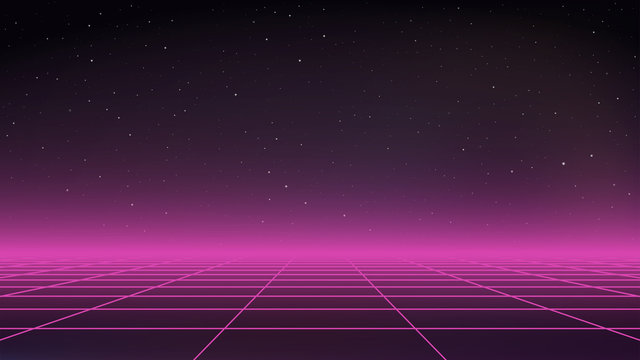 Retro Futurism Sci-Fi Background. Dark space with stars. Purple horizon light. Perspective grid. Abstract retro background in 80s style. Vector illustration