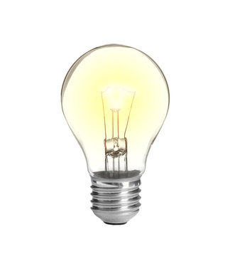 New incandescent light bulb for modern lamps on white background