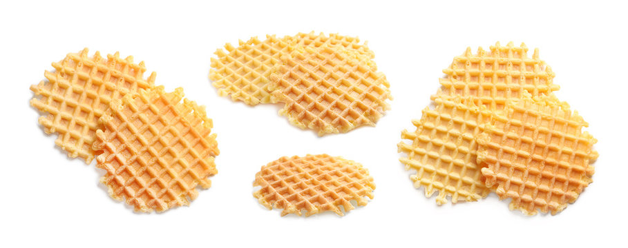Set of delicious waffles on white background