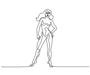 Woman standing in anatomy position Continuous line