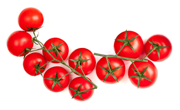 Cherry  tomatoes  isolated on white background.  Flat lay. Top view.