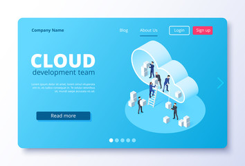 isometric vector image on a white background, landing as a landing page for a web site, people in business suits move blocks in the cloud