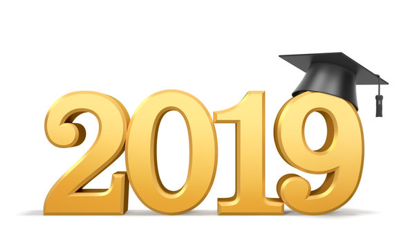 Graduation class of 2019 or academic year. Golden numbers (2019 date) with black graduate cap (mortarboard)
