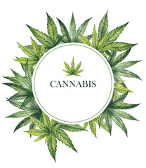 Watercolor illustration. Round frame with cannabis leaves.