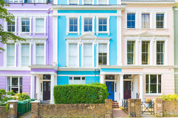 Colorful row of houses in London on a sunny day