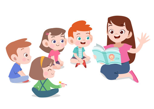 teacher read story to student vector illustration