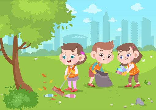 kids cleaning park vector illustration