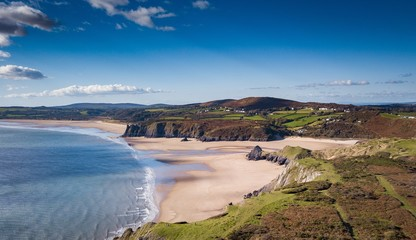Three Cliffs Bay Gower Peninsula Wales Great Britain Aerial View