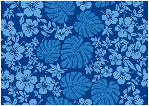 モンステラ柄とハイビスカス柄の背景イラスト 青 |テキスタイル 総柄・シームレス|Hibiscus and Monstera pattern background