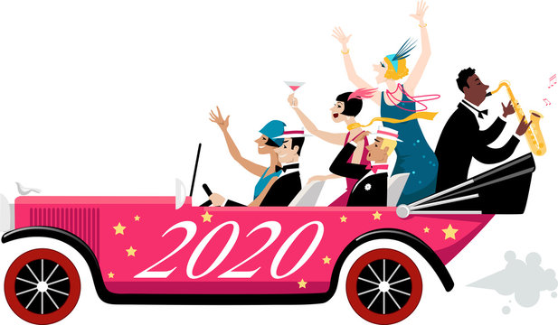 Group of celebrating New Year people dressed in 1920s fashion arriving in a vintage car with 2020 painted on it, EPS 8 vector illustration