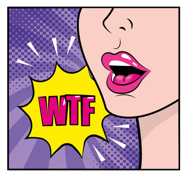 woman face with wtf pop art message