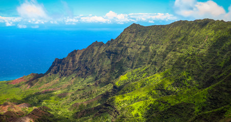 Panoramic view Kalalau valley lookout at Kokee State Park, Na Pali coast, Kauai, Hawaii, USA