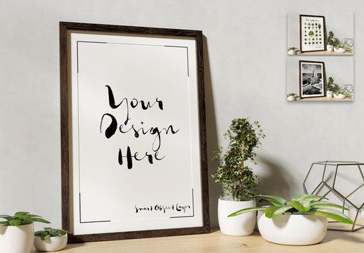 Mockup of a Frame on a Shelf with Plants