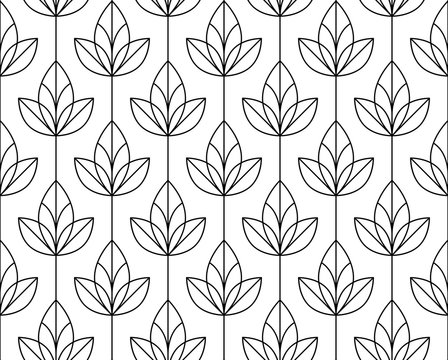 Flower geometric pattern. Seamless vector background. White and black ornament. Ornament for fabric, wallpaper, packaging, Decorative print
