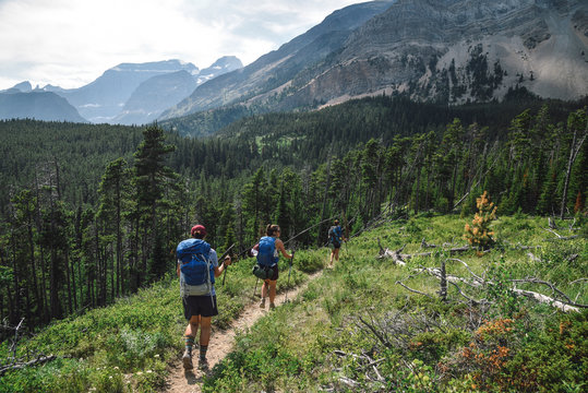 Women Backpacking in Glacier National Park in Montana During Summer