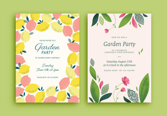 Garden Party Invitation Layouts with Lemon and Plant Illustrations