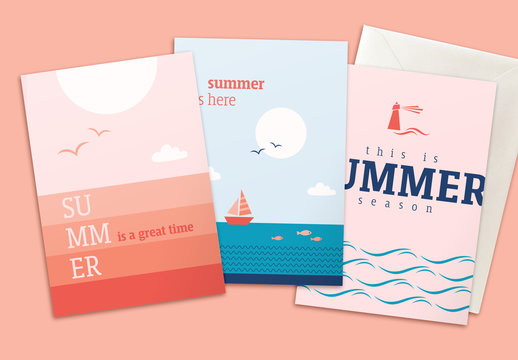 Summer Greeting Card Layouts with Maritime Theme