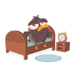 sleepy cartoon bird is getting out of bed
