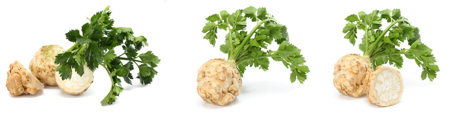 celery root with leaf isolated on white background. Celery isolated on white. Healthy food