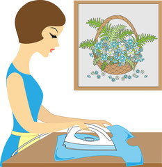 Profile of a beautiful lady. Cute girl ironing clothes. She is a caring hostess. Vector illustration
