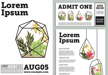 Minimalist Event Promotion Layout Pack with Illustrative Plants