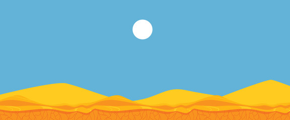 Fotobehang Blauw Vector flat landscape background blue sky sand