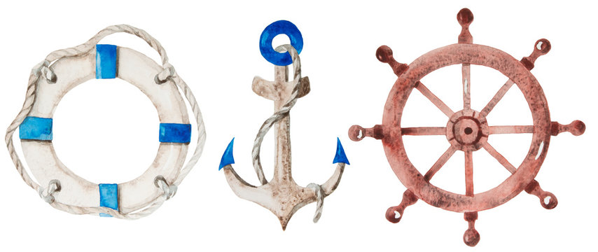 High quality watercolor set for your design. Lifebuoy, anchor and helm  in pastel colors isolated on white background.