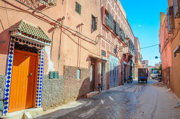 Beautiful street of old medina in Marrakech, Morocco