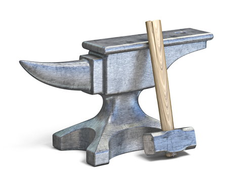 Blacksmith anvil and hammer 3D