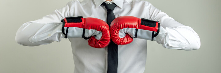 Wide view image of businessman wearing boxing gloves bumping his fists together