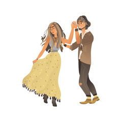 Couple in stylish boho clothes stands and holds hand by dancing cartoon style
