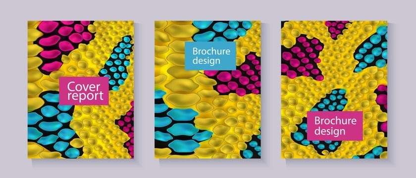 Yellow snake skin textured brochure templates set with text box realistic style