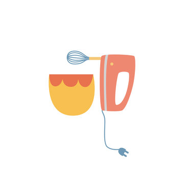 Electric hand mixer and ceramic bowl in flat cartoon style