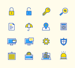 line icons, Neon color, Symbols for mobile and web graphics