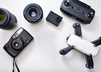 Top view of photography gear, workspace
