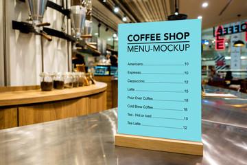 Mock up coffee menu list with acrylic frame