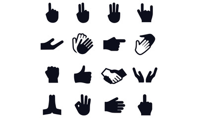 Gesture Icons finger set collection interface
