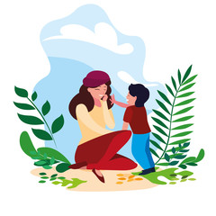 mother with son in scene nature
