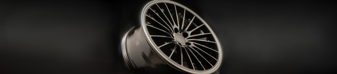 new Luxury Black alloy Wheel, sporty with thin spokes, panorama copy cpace on black background