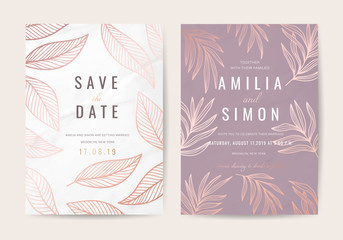 Wall Mural - Luxury Natural Wedding invite Card for summer and spring seasons. Design With gold leaves minimal style decoration. Vector