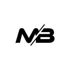 letters mb slice geometric logo vector