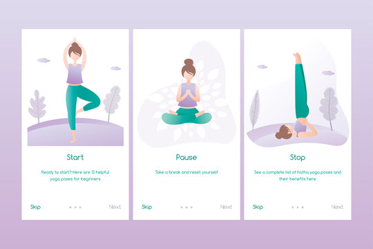 Set of yoga banners or mobile pages application,female doing yoga positions