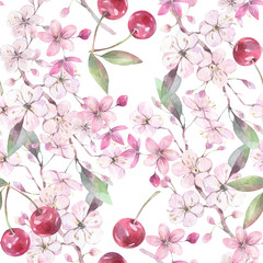 Hand painted watercolor illustration. Seamless botanical pattern with cherry elements.