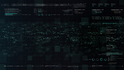 Wall Mural - Futuristic motion graphic user interface head up display screen blank template with digital data telemetry information display for digital background graphic overlay