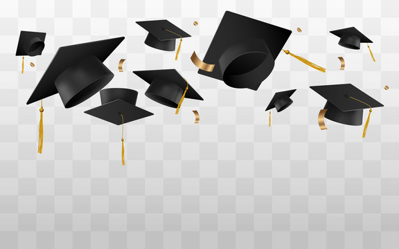 Graduation caps in the air vector template isolated on transparent.