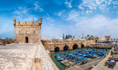 Wall Mural - Landscape with old fortress and fishing port of Essaouira, Morocco